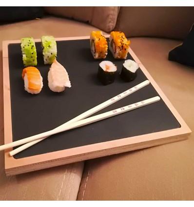 Tabla de madera y pizarra 25x25 cm